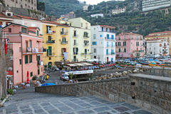Buildings at the port of Marina Grande in Sorrento, Italy at dus Royalty Free Stock Images
