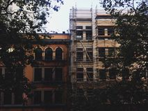 Buildings. Portland city street and buildings with scaffolding royalty free stock image