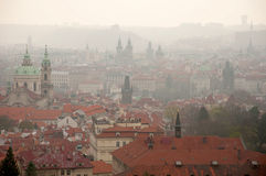 Buildings of Prague in the Morning Fog Royalty Free Stock Images