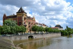 Buildings in Prague. And river Stock Photo