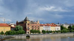 Buildings in Prague. And river Stock Photos