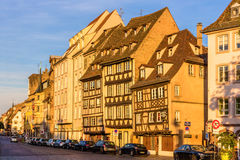 Buildings on Quai des Bateliers in Strasbourg Royalty Free Stock Photos