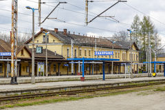 Buildings and the railway station platforms Royalty Free Stock Image