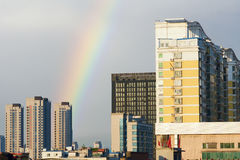 Buildings and rainbow Royalty Free Stock Image