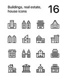 Buildings, real estate, house icons for web and mobile design pack 1. 16 line black and white vector icons royalty free illustration