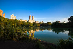 Buildings reflect in the lake at Central Park, New York Royalty Free Stock Photos