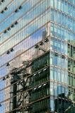 Buildings reflected in Bahn Tower in Potsdamer Platz Stock Photos