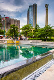 Buildings and reflecting pool at Centennial Olympic Park in down Stock Image