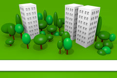 Buildings render with trees and blank banner vector illustration