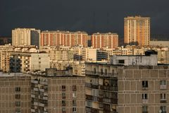 Buildings of residential district in Moscow Stock Photos