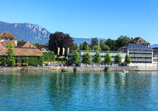 Buildings on the Ritterquai quay in Solothurn, Switzerland Royalty Free Stock Photography