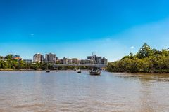 Buildings and river in Australia, Melbourne against the blue sky. In the day stock photos