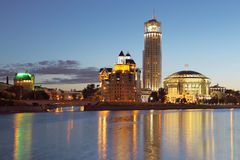 Buildings on the river bank. Moscow. Night. Stock Photo