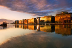 Buildings on the River Liffey in Dublin, Ireland Stock Photography