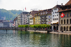 Buildings by river Reuss, Lucerne Stock Images