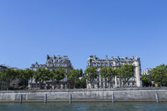 Buildings by the River Seine in Paris, France Royalty Free Stock Photography