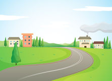 Buildings and road. Illustration of buildings and road in a beautiful nature Royalty Free Stock Photos