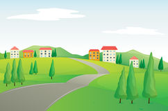 Buildings and road. Illustration of buildings and road in a beautiful nature Royalty Free Stock Image
