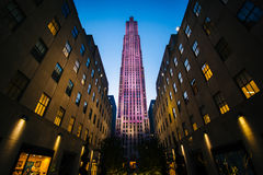 Buildings at Rockefeller Center at night, in Midtown Manhattan, Stock Images