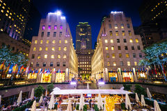 Buildings at Rockefeller Center at night, in Midtown Manhattan, Royalty Free Stock Images