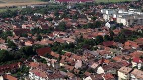 Buildings in Romania. Rasnov, Romania - August 15, 2018: view of buildings in Rasnov city in Romania stock video footage