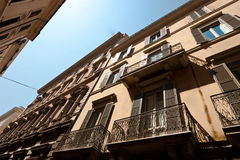 Buildings in Rome. Apartment buildings in Rome, Italy on the Via del Corso stock images