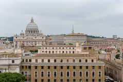 Buildings of Rome with Vatican St Peter Dome in background Stock Images
