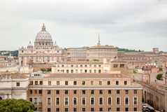 Buildings of Rome with Vatican St Peter Dome in background Stock Photo