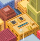 Buildings Roofs - Aerial View. Illustration of cartoon high city buildings tops and roofs with solar panels and various equipments