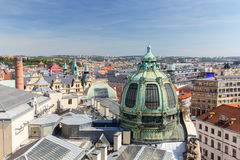 Buildings and roofs viewed from above in Prague stock photos