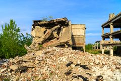 Buildings, ruins. Demolished buildings, industrial ruins, earthquake Royalty Free Stock Image