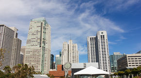 Buildings in San Francisco city with blue sky. Stock Photo