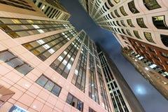 Buildings of San Francisco at night, upward view.  Royalty Free Stock Image