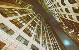 Buildings of San Francisco at night, upward view.  Royalty Free Stock Photo