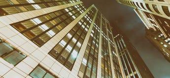 Buildings of San Francisco at night, upward view.  Stock Photos