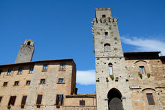 Buildings in San Gimignano city in Tuscany, Italy. Royalty Free Stock Photos