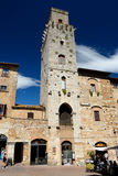 Buildings in San Gimignano city in Tuscany, Italy. Stock Images