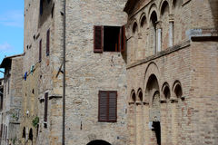 Buildings in San Gimignano city in Tuscany, Italy Stock Photos