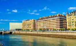 Buildings in San Sebastian at the river Urumea, Spain Royalty Free Stock Photography