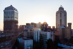 The Sandton Skyline during sunset. stock photos