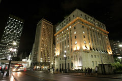 Buildings in Sao Paulo. At night. In the photo: City Hall in the city center of São Paulo. Located on the overpass Tea central region of São Paulo. Photo royalty free stock photos