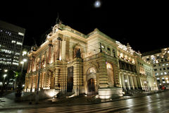 Buildings in Sao Paulo. At night. Pictured: Municipal Theatre in the city center of São Paulo. Located on the overpass Tea central region of São Paulo royalty free stock photography