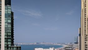 View of Dubai JBR looking at the the southern radial of The Palm Stock Image