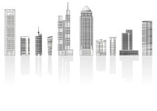 Buildings set. With shadow isolated over white background Royalty Free Stock Images
