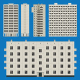 Buildings set with block houses Royalty Free Stock Photo