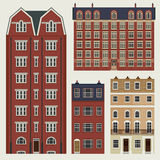 Buildings set with english classic terrace houses Royalty Free Stock Image