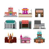 Buildings set isolated on white background Royalty Free Stock Photos