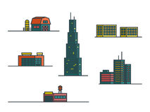 Buildings . Set of outline colorful vector icons. Buildings. Set of outline colorful vector icons Royalty Free Stock Photo