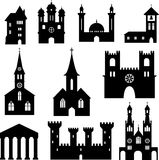 Buildings - set of silhouette churches and castles Royalty Free Stock Image