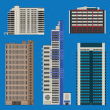 Buildings set with skyscrapers and hotels. Various tall buildings including hotels and business centers Royalty Free Stock Photo